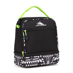 High Sierra Lunch Packs Stacked Compartment in the color Black/Geo Weave/Zest.