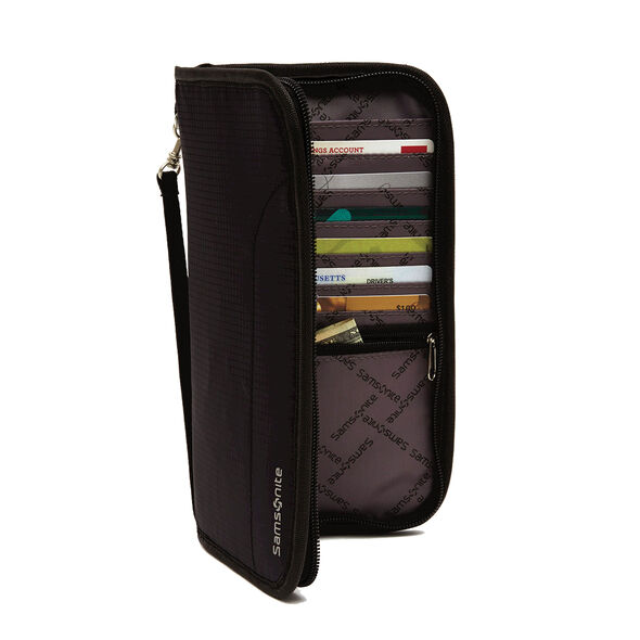 RFID Zip Close Travel Wallet in the color Black.