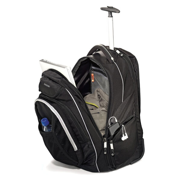 "Samsonite Tectonic Tectonic 21"" Wheeled Backpack in the color Black."