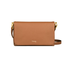 Lipault Plume Elegance Clutch Bag M in the color Cognac Leather.