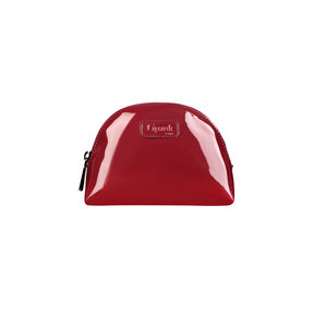 Lipault Plume Vinyle Cosmetic Pouch in the color Ruby.