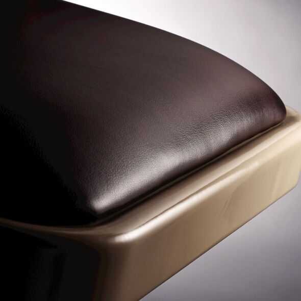 Samsonite Steel & Bonded Leather Folding Chair  (Case/4) in the color Neutral/Chocolate.