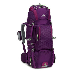 High Sierra Tech 2 Series Womens Titan 55 Frame Pack in the color Eggplant/Berry Blast/Lime.