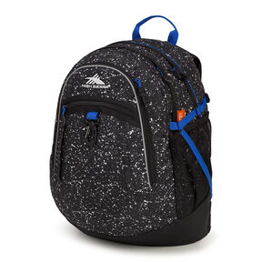 High Sierra Fat Boy Backpack in the color Speckle/Black/Vivid Blue.