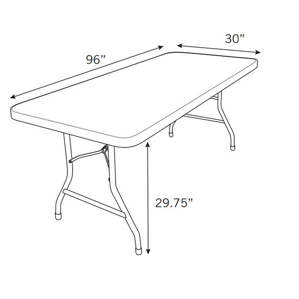 Samsonite 7700 Series 8' Blow Mold Table in the color Grey.