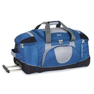 "High Sierra AT2 30"" Wheeled Duffel With Straps in the color Blue Yonder."