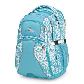 High Sierra Swerve Backpack in the color Tropic Leopard/Tropic Teal/White.