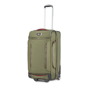 "High Sierra AT8 26"" Wheeled Duffel Upright in the color Olive/Cranberry."