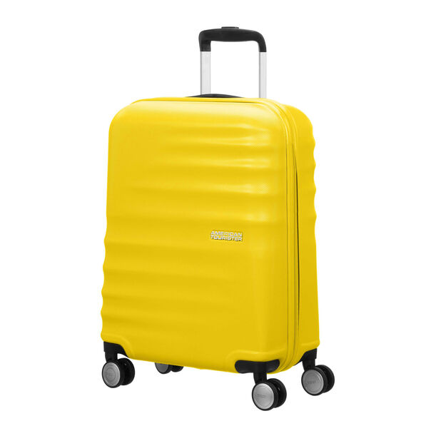"American Tourister Wavebreaker 20"" Spinner in the color Sunny Yellow."