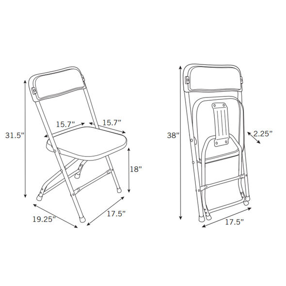 Samsonite 2200 Series Injection Mold Folding Chair (Case/10) in the color White/White.
