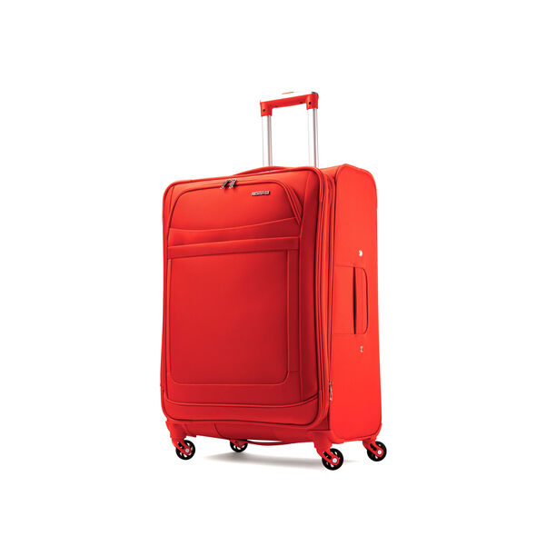 "American Tourister iLite Max 21"" Spinner in the color Tangerine."