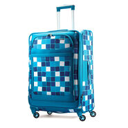 "American Tourister iLite Max 25"" Spinner in the color Light Blue Squares."