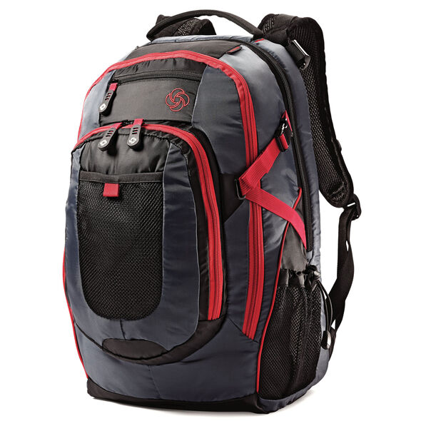 Samsonite Campus Mini Senior Backpack in the color Grey/Black/Red.