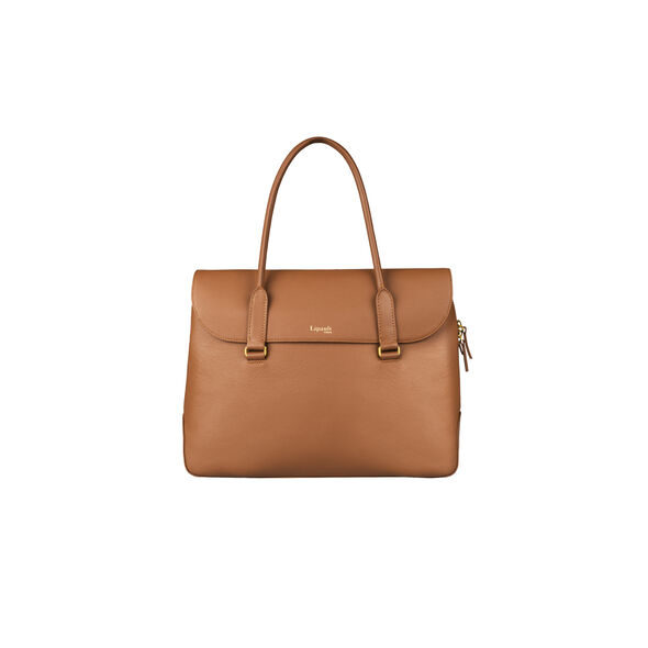 Lipault Plume Elegance Laptop Tote Bag in the color Cognac Leather.