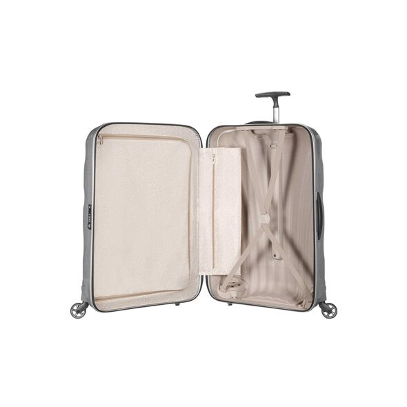 "Samsonite Cosmolite Spinner Large (30"") in the color Silver."
