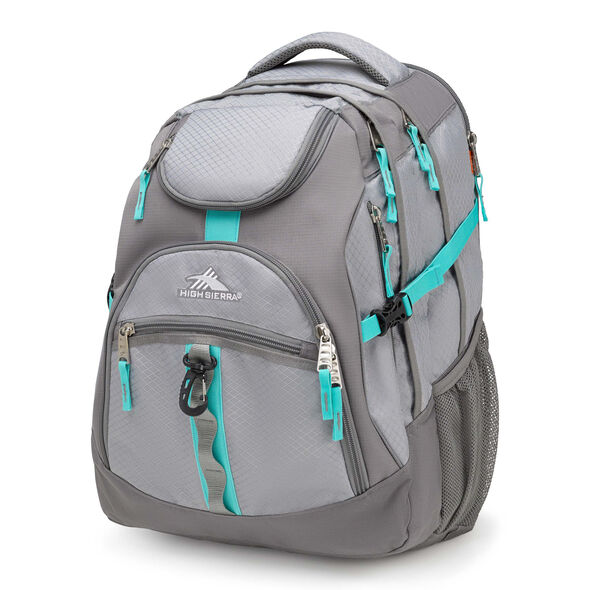 High Sierra Access Backpack in the color Ash/Charcoal/Aquamarine.