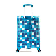 "American Tourister iLite Max 21"" Spinner in the color Light Blue Squares."