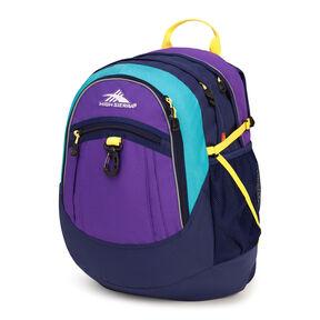 High Sierra Fat Boy Backpack in the color Deep Purple/True Navy/Tropic Teal/Sunburst.
