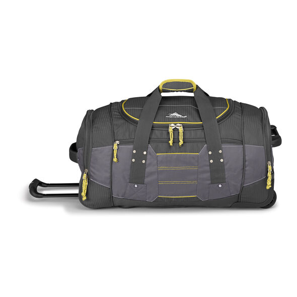 "High Sierra Ultimate Access 2.0 26"" Wheeled Duffel in the color Mercury/Charcoal/Yell-O."