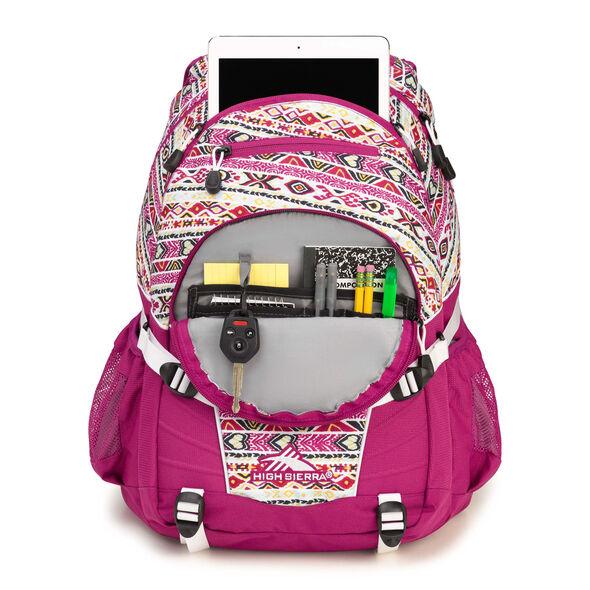 High Sierra Loop Backpack in the color Macrame/Razzmatazz/White.