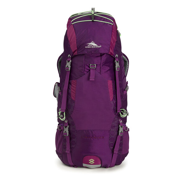 High Sierra Tech 2 Series Womens Lightning 35 Frame Pack in the color Eggplant/Berry Blast/Lime.