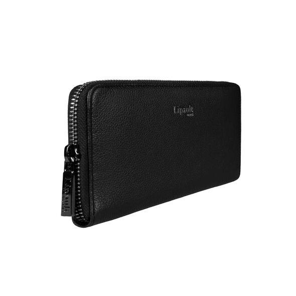 Lipault Plume Elegance Zip Around Wallet in the color Black Leather.