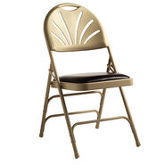 Samsonite Fanback Steel & Bonded Leather Chair  (Case/4) in the color Neutral/Chocolate.