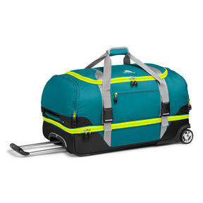 "High Sierra Sportour 28"" Drop-Bottom Wheeled Duffel in the color Sea/Ash/Black/Zest."