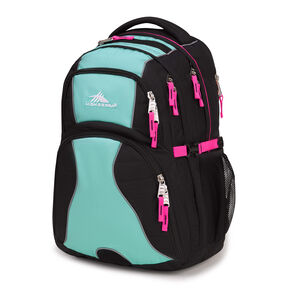 High Sierra Swerve Backpack in the color Black/Aquamarine/Flamingo.