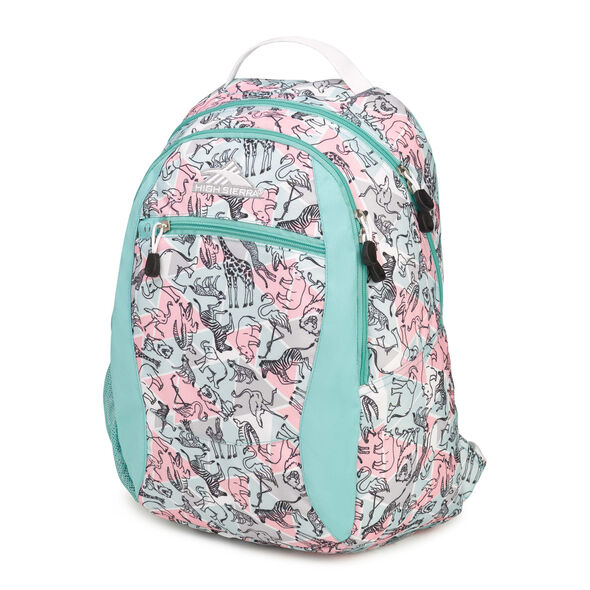High Sierra Curve Backpack in the color Safari/Aquamarine/White.