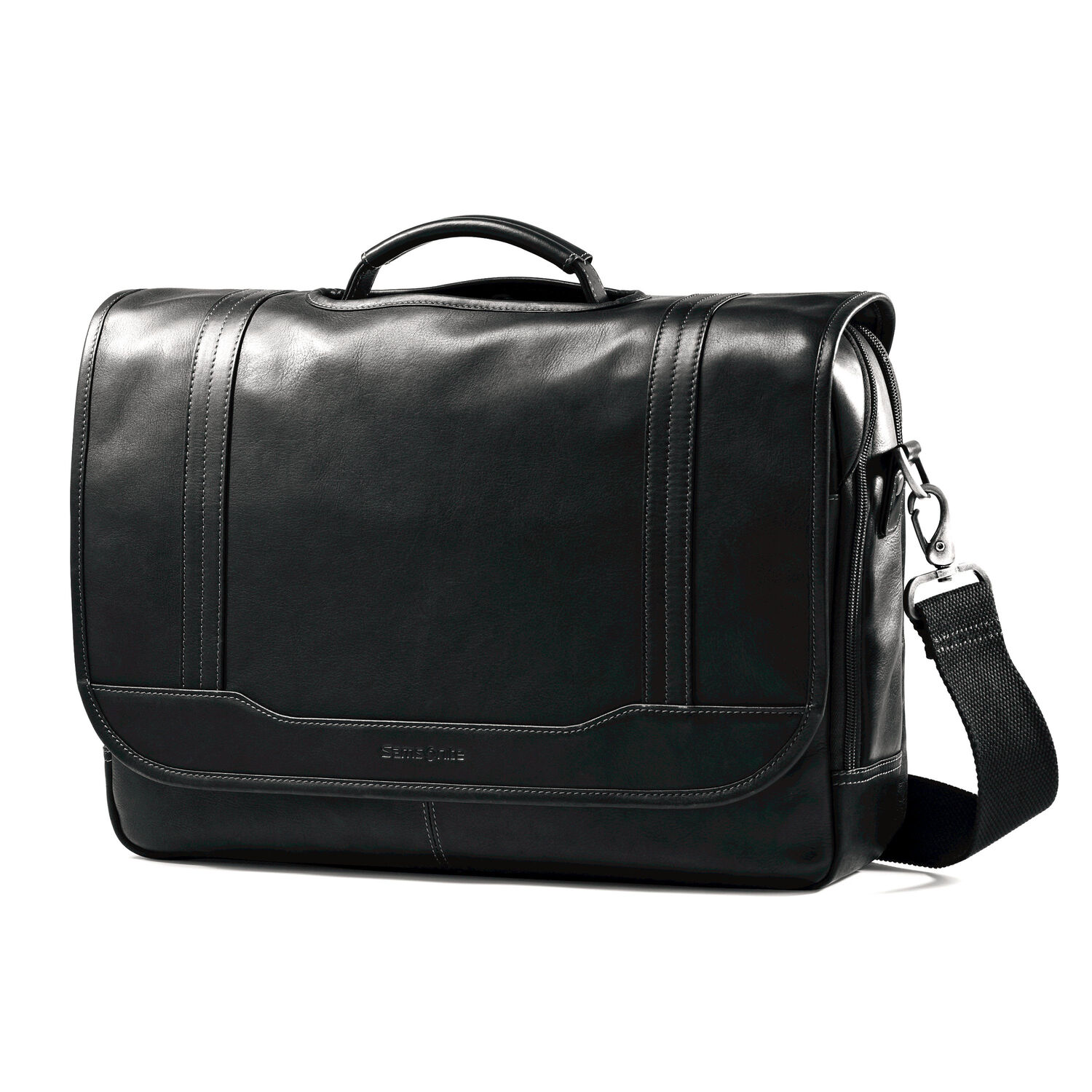 samsonite colombian leather flapover briefcase. Black Bedroom Furniture Sets. Home Design Ideas