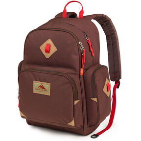 High Sierra Warren Backpack in the color Chocolate/Crimson.