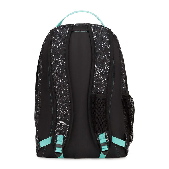 High Sierra Curve Backpack in the color Speckle/Black/Aquamarine.