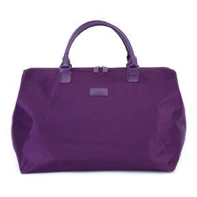 """Lipault Lady Plume 18"""" Weekend Satchel in the color Purple."""