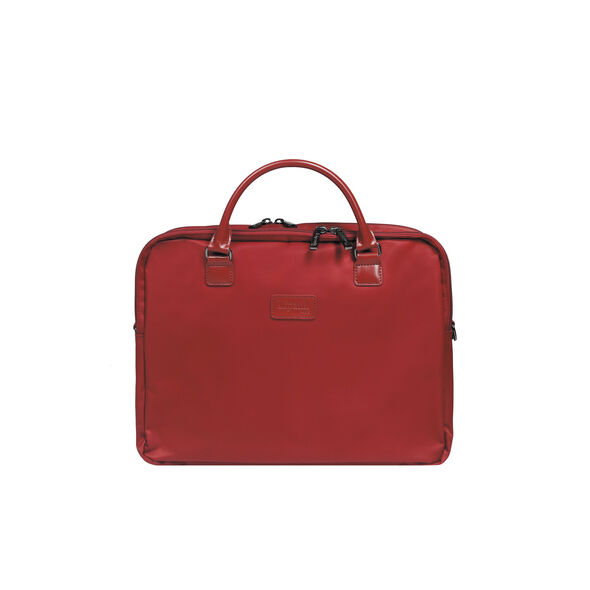"""Lipault Lady Plume Laptop Bailhandle 15.6"""" FL in the color Ruby."""