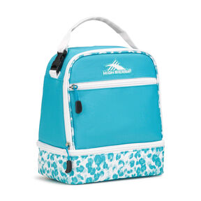 High Sierra Lunch Packs Stacked Compartment in the color Tropic Teal/Tropic Leopard/White.
