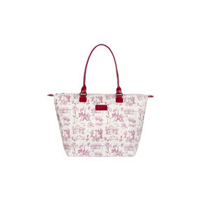 Lipault Lady Plume Tote Bag M in the color Toile de Jouy/Amaranth.