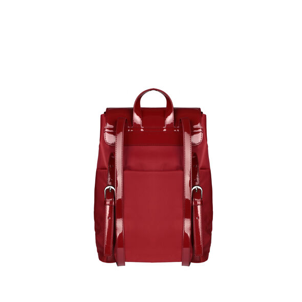 Lipault Plume Vinyle Backpack S Bi-Material in the color Ruby.
