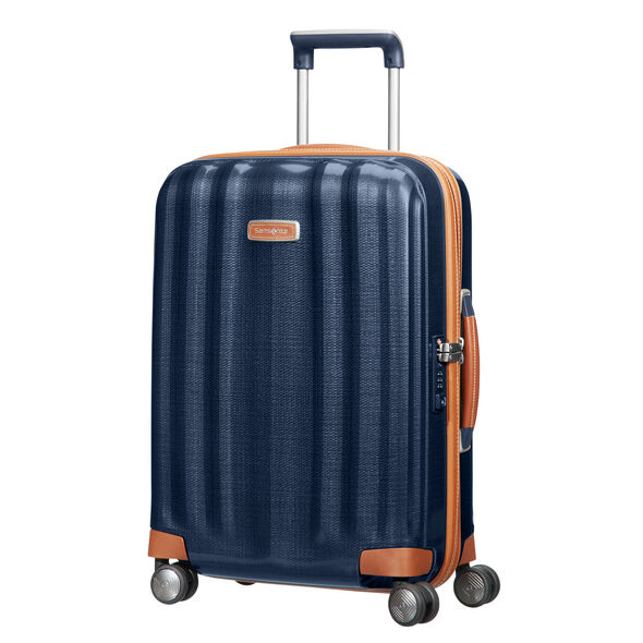 "Samsonite Black Label Lite-Cube DLX 20"" Spinner in the color Midnight Blue."
