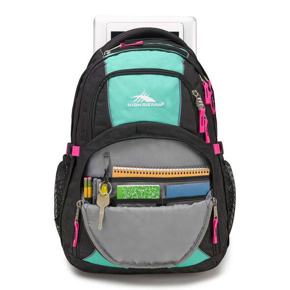 High Sierra Swerve Backpack in the color Black/Aquamarine/Flamingo.
