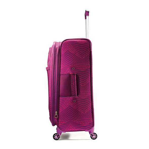 "American Tourister iLite Max 29"" Spinner in the color Pink/Purple Stripes."