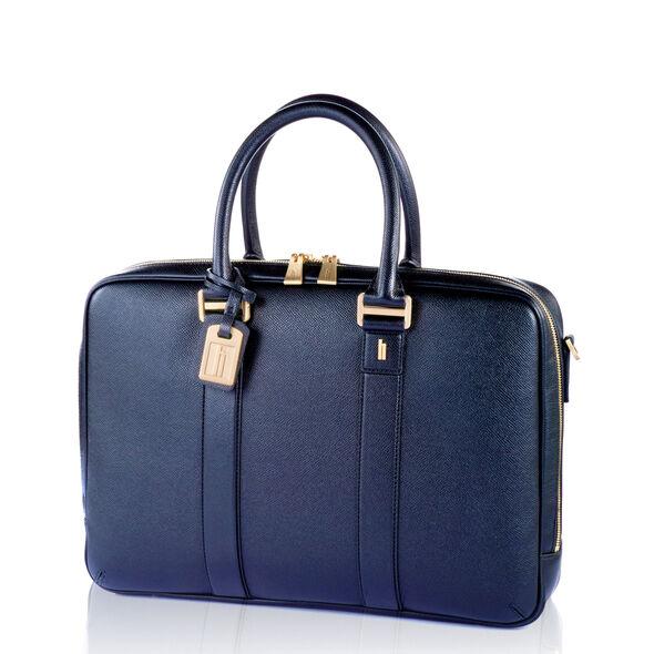 Hartmann Prestigie Bail Handle Briefcase in the color Navy.