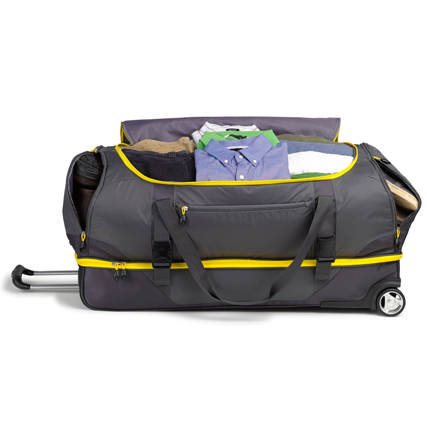 High sierra sportour 34 quot drop bottom wheeled duffel in the color grey mercury