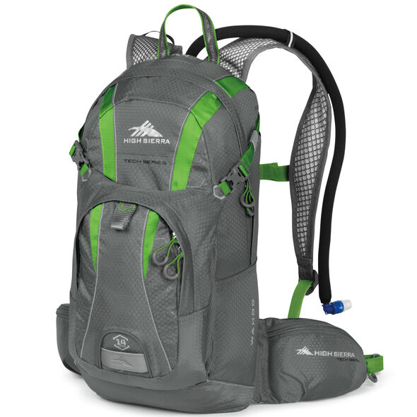 High Sierra Wahoo 14L Hydration Pack in the color Charcoal/Kelly.