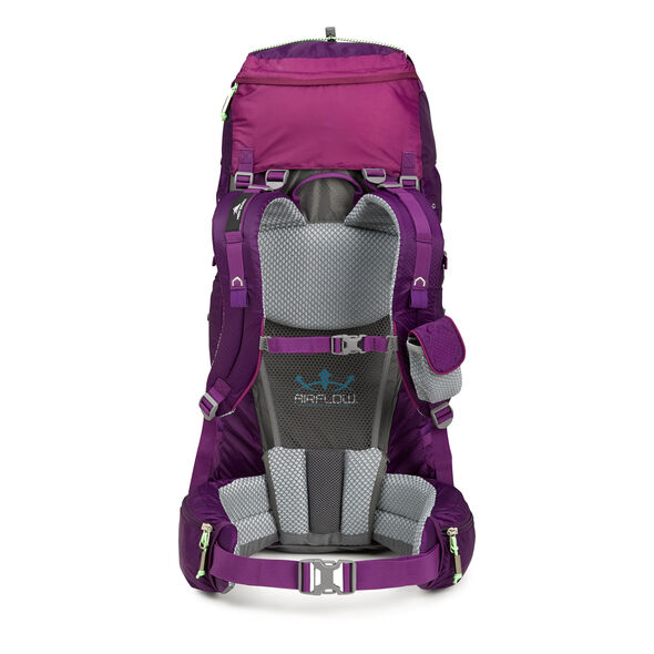 High Sierra Tech 2 Series Womens Hawk 45 Frame Pack in the color Eggplant/Berry Blast/Lime.