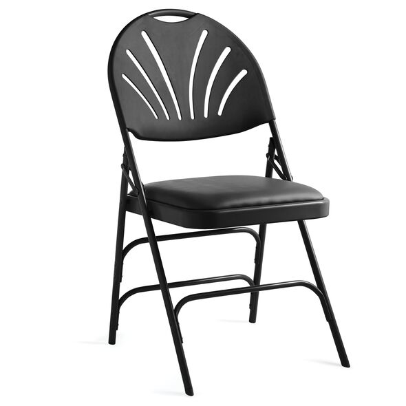 Samsonite XL Fanback Steel & Vinyl Folding Chair (Case/4) in the color Black.