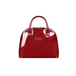 Lipault Plume Vinyle Handle Bag M in the color Ruby.