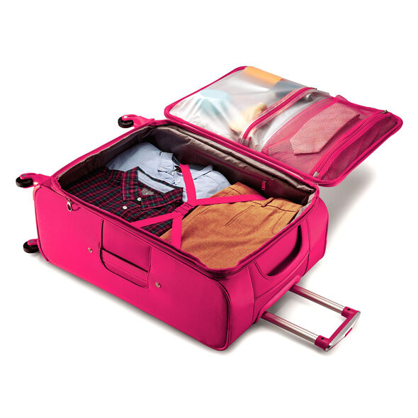 "American Tourister iLite Max 25"" Spinner in the color Raspberry."