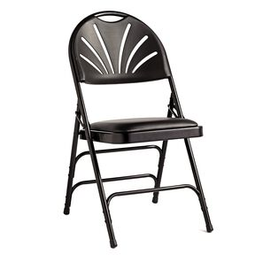 Samsonite Fanback Steel & Vinyl Folding Chair (Case/4) in the color Black.
