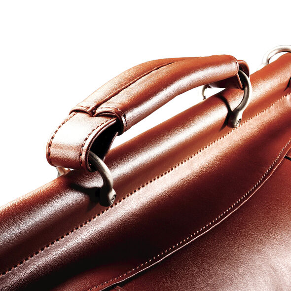 Samsonite Leather Dowel Flapover Business Case in the color Tan.